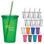 16 Ounce Double Wall Acrylic Tumbler With Straw