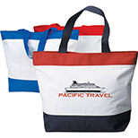 Tri-Color Tote with Zippered Top
