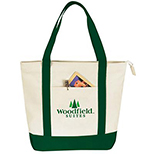 Two-Tone Canvas Zippered Tote