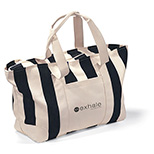 Navy Striped Large Canvas Tote