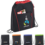 600D  Drawstring Backpack with Earbud Port