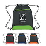 Contrast Panel Drawstring Bag