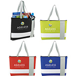 Wide Stripe Zippered Business Tote