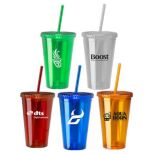 16 Oz. Insulated Acrylic Tumbler with Matching Straw