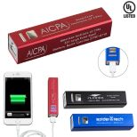 UL Listed Aluminium 2200 mAh Lithium Ion Portable Power Bank Charger - Holiday Savings