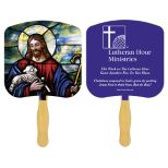 Religious Sandwiched Hand Fan with One Spot Color Second Side Imprint